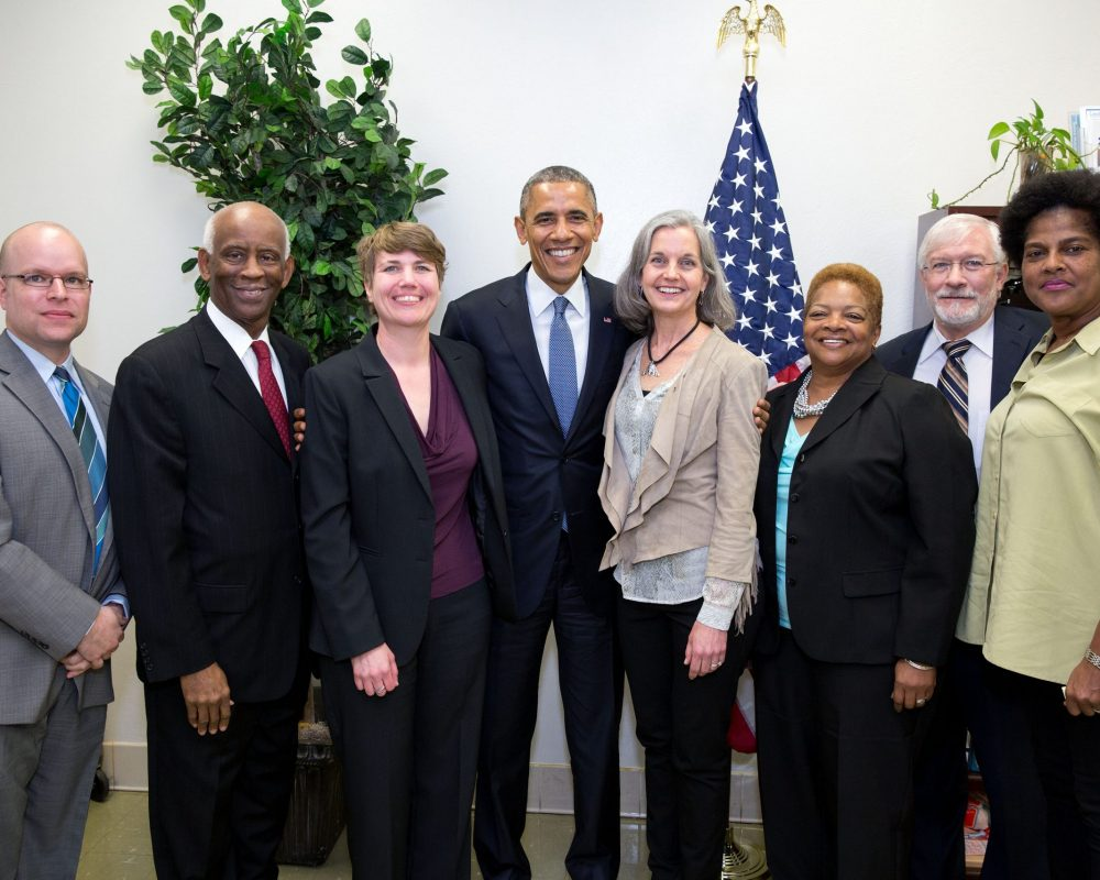 President Barack Obama joins participants for a group photo following a roundtable on consumer protection issues at Lawson State Community College in Birmingham, Alabama, March 26, 2015. (Official White House Photo by Pete Souza)This photograph is provided by THE WHITE HOUSE as a courtesy and may be printed by the subject(s) in the photograph for personal use only. The photograph may not be manipulated in any way and may not otherwise be reproduced, disseminated or broadcast, without the written permission of the White House Photo Office. This photograph may not be used in any commercial or political materials, advertisements, emails, products, promotions that in any way suggests approval or endorsement of the President, the First Family, or the White House.
